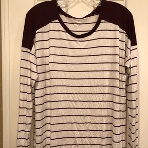 Old Navy maroon striped top